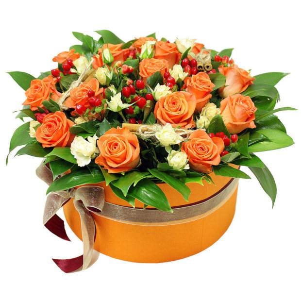 """Цветы в коробке """"Оранжевый закат"""""""
